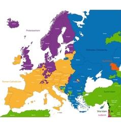 Predominant religious in Europe vector