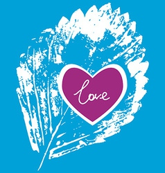 prints white leaf on a blue background love vector image