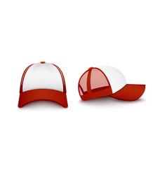 Red and white snapback baseball cap mockup set vector