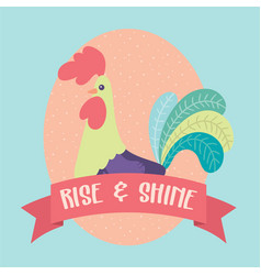 Rooster rise and shine clip vector
