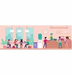 school cafeteria interior with schoolchildren vector image