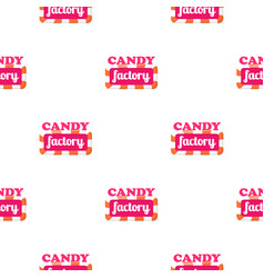 Seamless pattern with candy factory logo vector