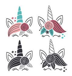 set colorful and monochrome unicorn faces vector image