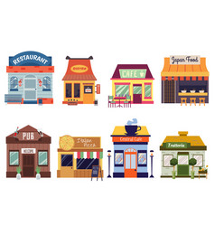 set restaurant and cafe building facades flat vector image