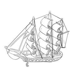 sketch of ship model vector image