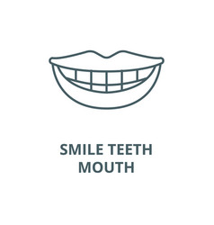 smile teeth mouth line icon linear vector image