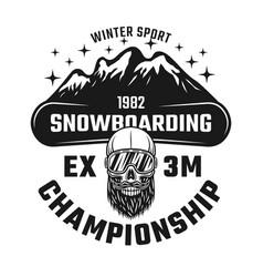 snowboarding championship emblem vector image