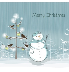 snowman with birds vector image