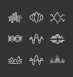 sound and audio waves chalk icons set voice vector image
