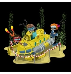 Submarine surrounded by three divers vector