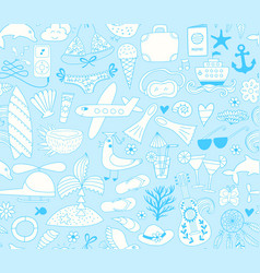 Summer vacation set doodle elements seamless vector
