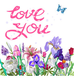 tender floral love you template with butterfly vector image
