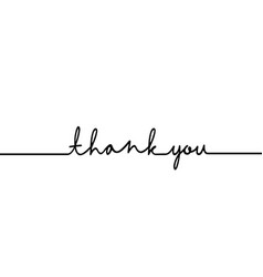 thank you - continuous one black line with word vector image