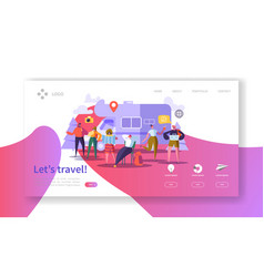 tourism and travel industry landing page traveling vector image