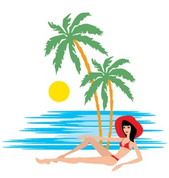 tropical beach with palm trees and woman vector image