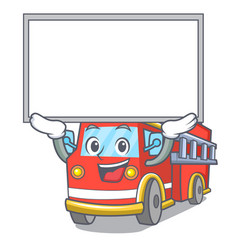 Up board fire truck character cartoon vector