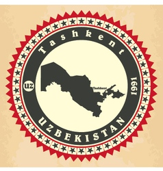 vintage label-sticker cards uzbekistan vector image