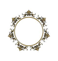 Vintage round swirl flourish decoration frame vector