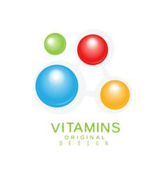 Vitamins colorful logo template original design vector