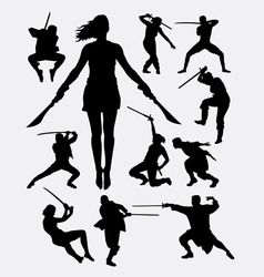 Warrior with weapon silhouette vector image