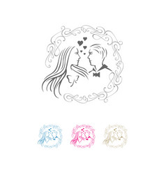 Wedding logo design shilhoutte bride in love vector