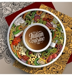 With a Cup of coffee and italian food vector