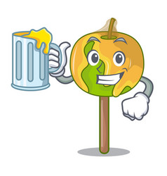 With juice candy apple mascot cartoon vector