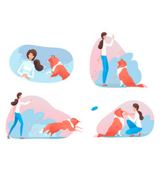 Woman character training dog in park scene set vector