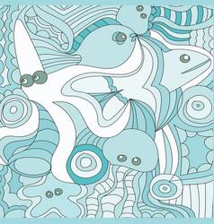 cartoon hand drawn doodles nautical marine vector image