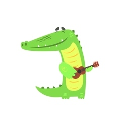 Crocodile Playing Guitar Humanized Green Reptile vector image vector image
