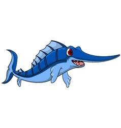 cute blue marlin cartoon vector image