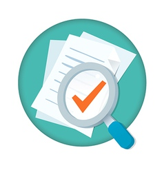 magnifying glass with documents and check m vector image vector image
