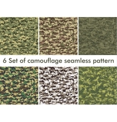 Seamless set of camouflage military pattern Cloth vector image