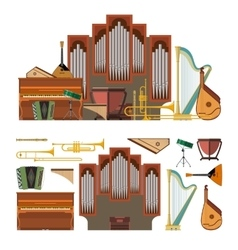 set of musical instruments in flat style vector image vector image