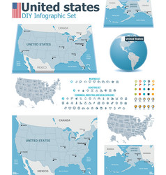 United States maps with markers vector image