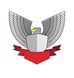 White Hawk with shield and red Ribbon Bird and vector image
