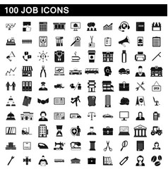 100 job icons set simple style vector image vector image