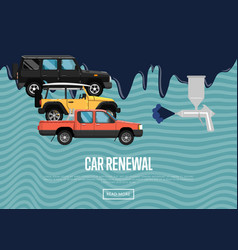 car renewal business concept with city cars vector image vector image