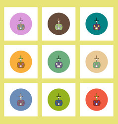 flat icons halloween set of pumpkin and sword vector image vector image
