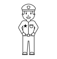 portrait policeman smiling uniform and cap vector image