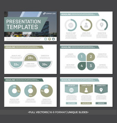 set of green and gray elements for multipurpose vector image