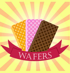 Set of wafers waffles logo concept on starburst vector