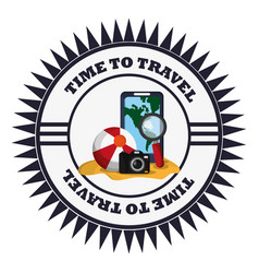 time travel online map camera stamp vector image