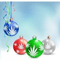 Christmas balls cannabis hemp vector image vector image