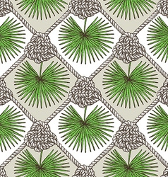 Engraved palm leaves and rope vector image