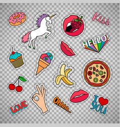 funny quirky food stickers set vector image vector image