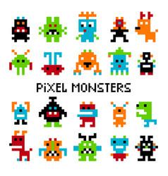 pixel invaders set vector image