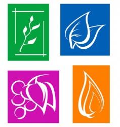 set of leaves symbols vector image vector image