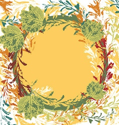 set of prints of leaves on an orange background vector image