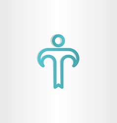 turkoise letter t man icon vector image vector image